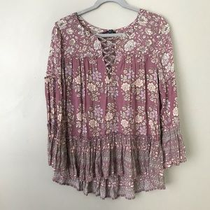 AEO floral ruffle bell sleeve tunic blouse